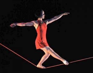 Beth Clarke tightrope walking
